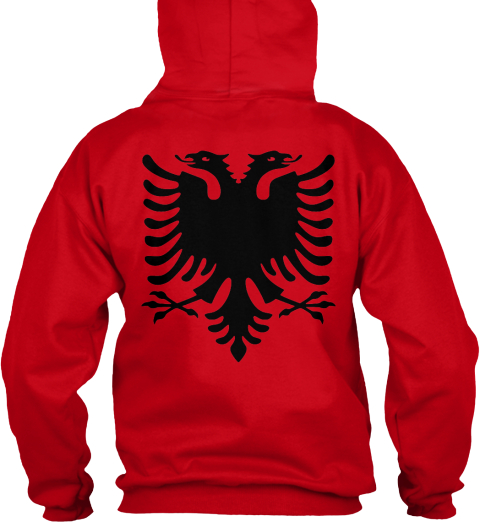 Original Albanian Eagle Hoodie Red Sweatshirt Back