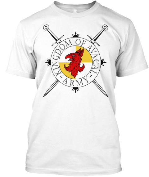 Kingdom Of Avacal Army White T-Shirt Front