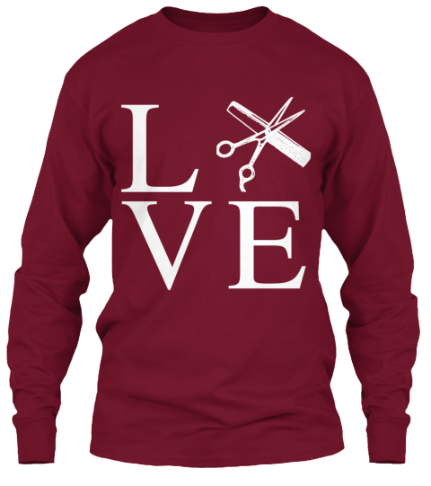Love Shirt For Hairstylists  Cardinal Red Long Sleeve T-Shirt Front