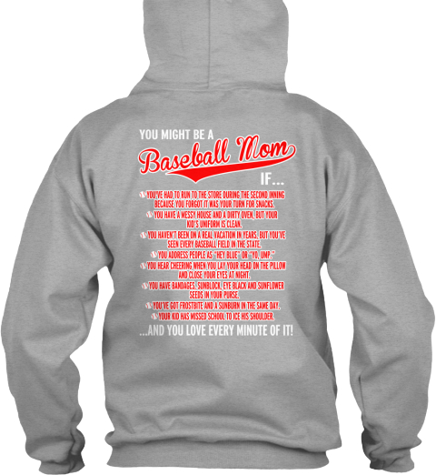 You Might Be A Baseball Mom If... Sport Grey Sweatshirt Back
