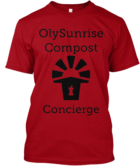 Oly Sunrise  Compost Concierge Deep Red T-Shirt Front