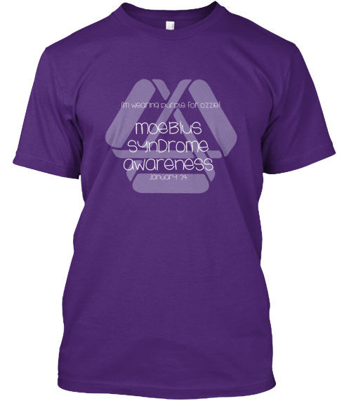 Moebius Syndrome Awareness   Ozzie Style Purple T-Shirt Front