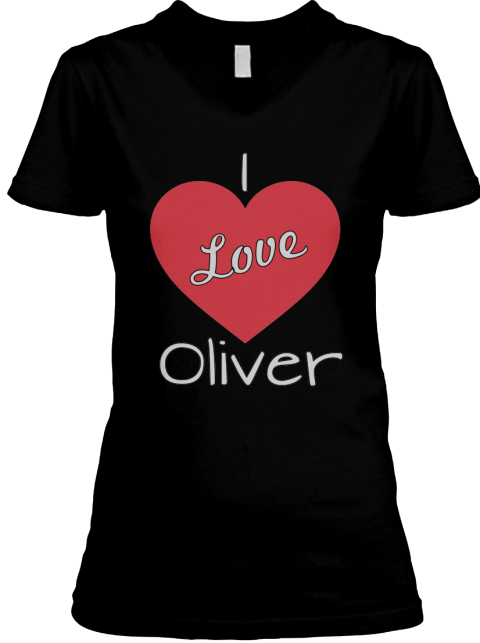 I Love Oliver Black T-Shirt Front