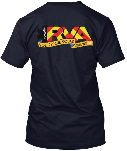 Rva Volunteer Rescue Gear! Navy T-Shirt Back