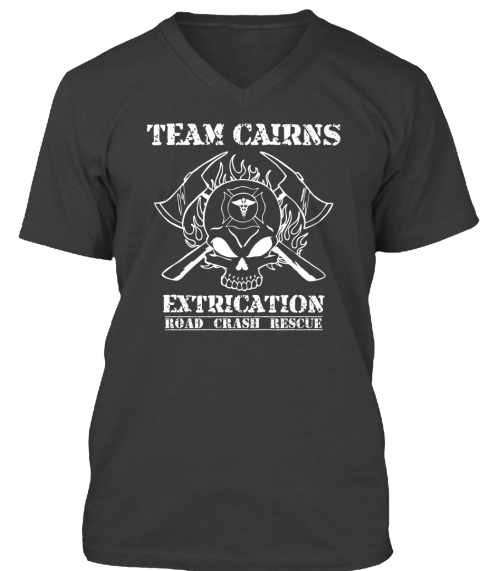 Team Cairns Extrication Road Crash Rescue Dark Grey Heather T-Shirt Front
