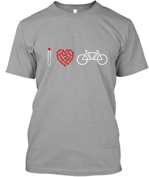 I Love Bicycle Light Heather Grey  T-Shirt Front