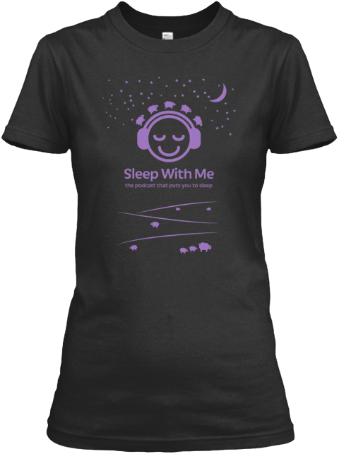 """Sleep With Me Podcast"" Logo Mens/Womens Black Women's T-Shirt Front"