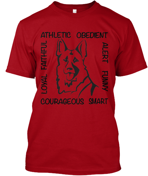 Limited Edition German Shepherd Shirt! Deep Red T-Shirt Front