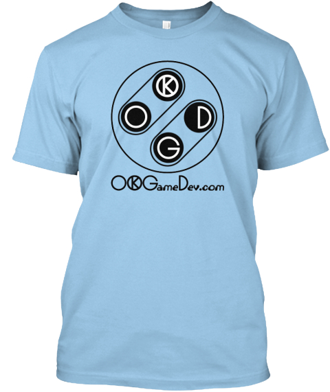 Support Ok Game Dev.Com Light Blue T-Shirt Front