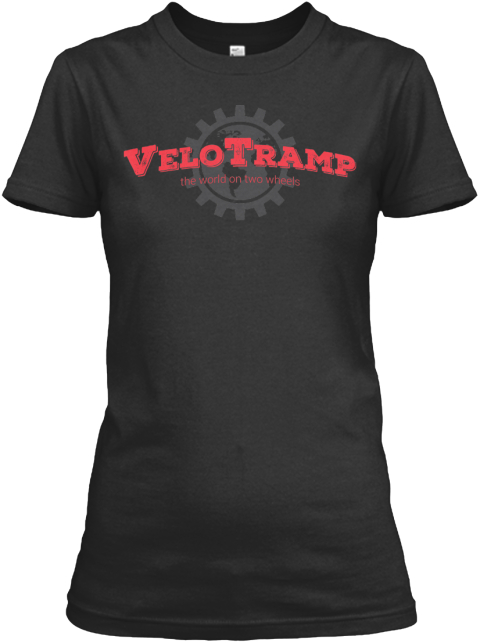 Velotramp The World On Two Wheels Velotrampproject.Com Black Women's T-Shirt Front