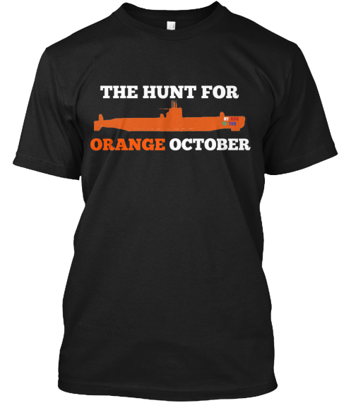 The Hunt For October Orange Black T-Shirt Front
