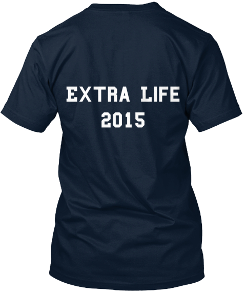 Extra Life 2015 New Navy T-Shirt Back