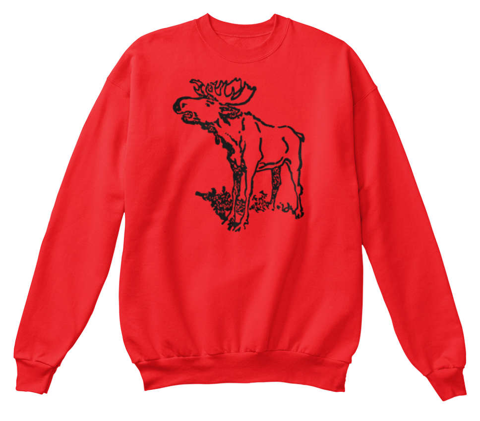 Top Moose Design 1 Nouveau shirt Standard Chri Day Santa Sweat Unisexe PwPxFrXq1