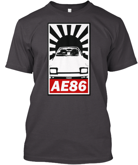 Ae86  Heathered Charcoal  T-Shirt Front