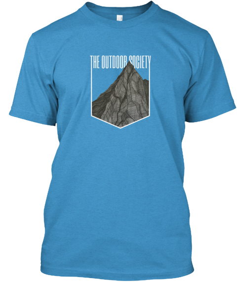 The Outdoor Society Shirt   The Mountain Heathered Bright Turquoise  T-Shirt Front