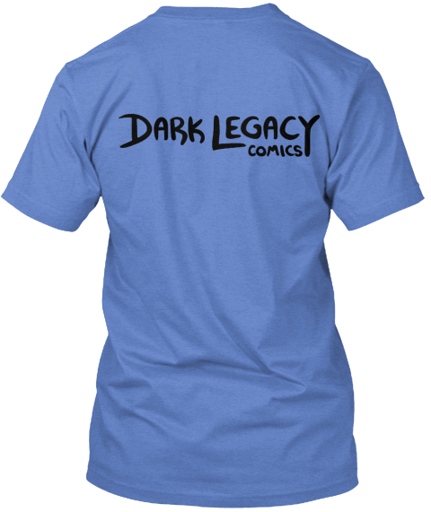 Dark Legacy Comics Heathered Royal  T-Shirt Back