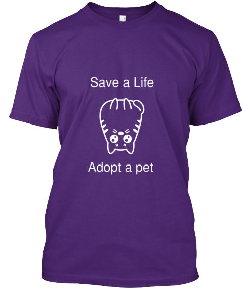 Save A Life Adopt A Pet Purple T-Shirt Front