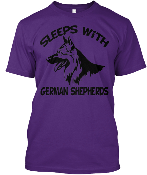 Sleeps With German Shepherds Purple T-Shirt Front