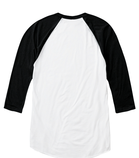 Power To The Girls! Baseball T Shirt White/Black  Long Sleeve T-Shirt Back