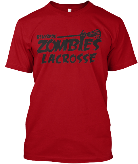 Belgrade Zombies Lacrosse  Deep Red T-Shirt Front