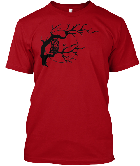 Owl At Her Post  Deep Red T-Shirt Front