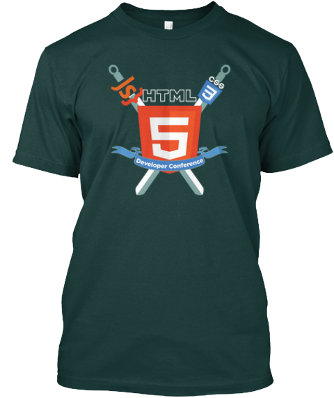Html5 Dev Conf Sword And Shield Forest T-Shirt Front