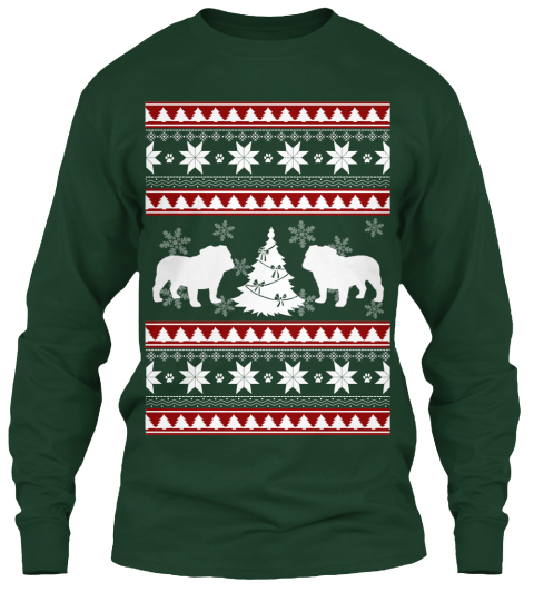 Bulldog Ugly Christmas Sweater Forest Green Long Sleeve T-Shirt Front