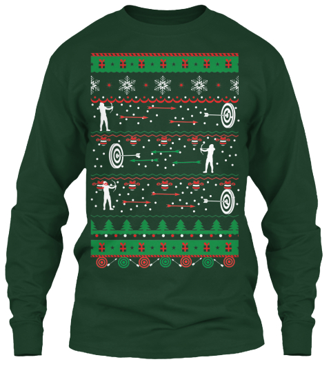 Archer Christmas Forest Green Long Sleeve T-Shirt Front