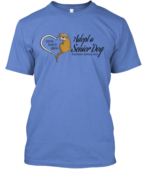 Adopt A Senior Dog  Heathered Royal  T-Shirt Front
