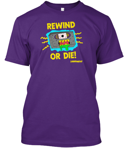 Rewind Or Die! Lunchmeat  Purple T-Shirt Front