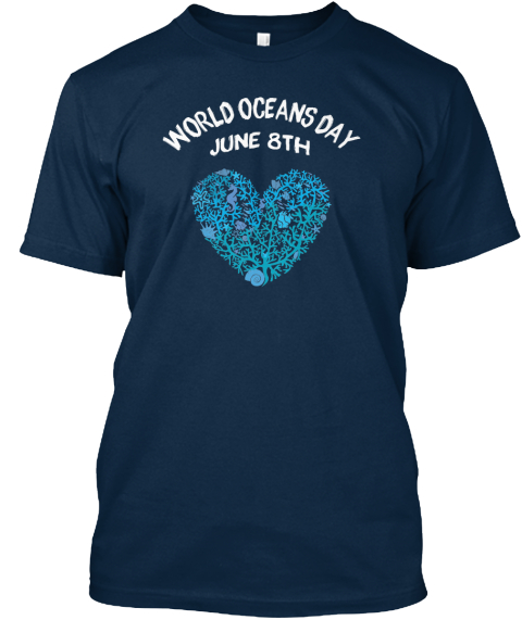 World Oceans Day: Our Blue Heart Navy T-Shirt Front