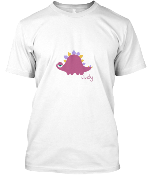 Live.Ly Pink Dinosaur White T-Shirt Front