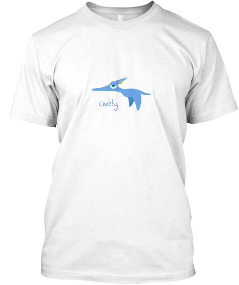 Live.Ly Flying Dinosaur White T-Shirt Front