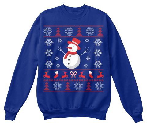 Ugly Christmas Snowman Deep Royal  Sweatshirt Front