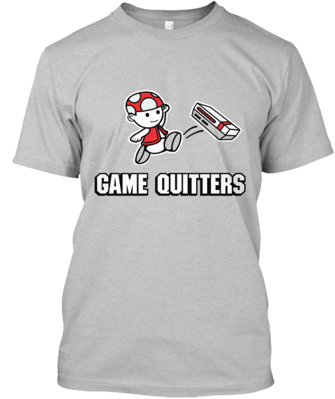Game Quitters Movement Light Heather Grey  T-Shirt Front