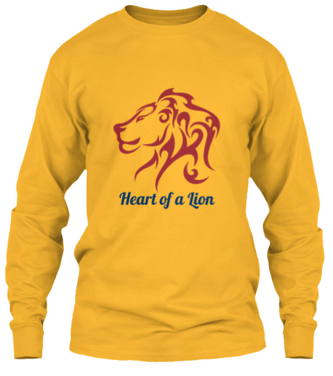 Heart Of A Lion Gold Long Sleeve T-Shirt Front