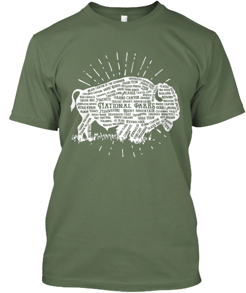 59 National Parks   American Bison Tee Fatigue Green T-Shirt Front