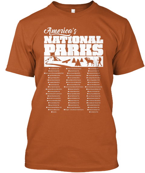 America's National Parks Texas Orange T-Shirt Front