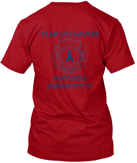 Team Lifesavers Supports Dibenedetto Deep Red T-Shirt Back