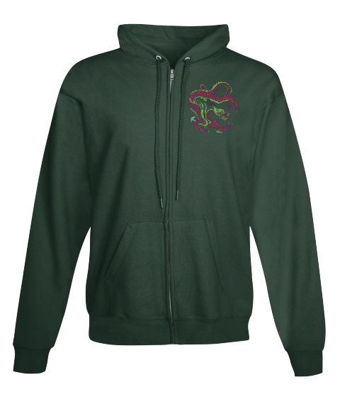 Dragon Zip Hoodie Deep Forest  Sweatshirt Front