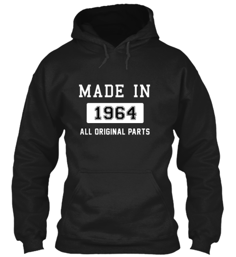 Made In 1964 Black Sweatshirt Front