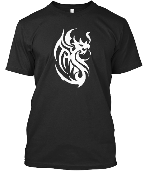 T Shirt White Dragon Tattoo Shirt Design Black T-Shirt Front