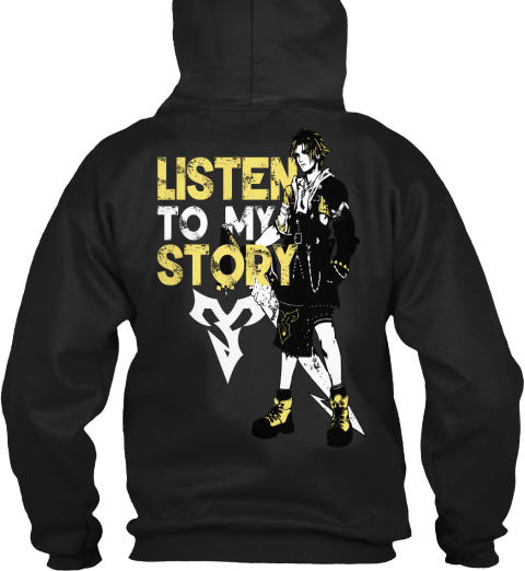 Listen To My Story Black T-Shirt Back