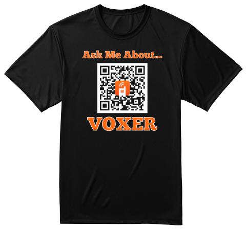Ask Me About Voxer Why Voxer? Best P.D. From The Best P.E. Teachers There's A Side Vox For Everyone Because 140... Black T-Shirt Front