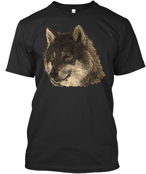 T Shirt Wolf Head Black T-Shirt Front