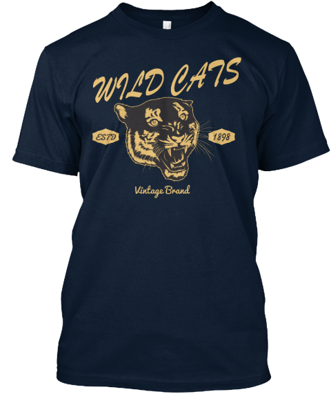 Wild Cats Vintage T Shirt New Navy T-Shirt Front