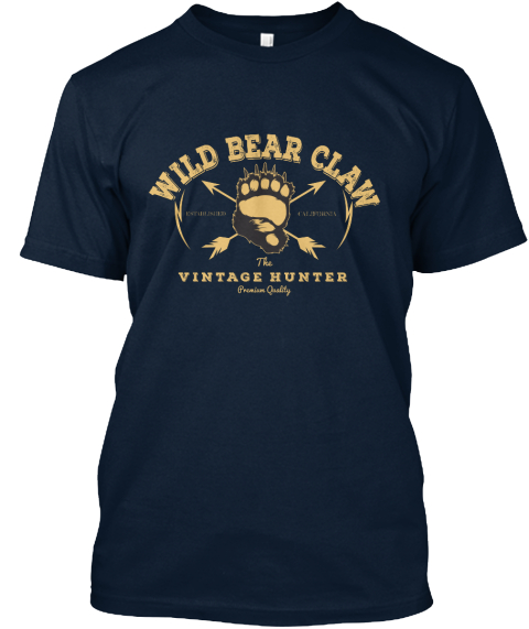 Wild Bear Claw Vintage Tshirt New Navy T-Shirt Front
