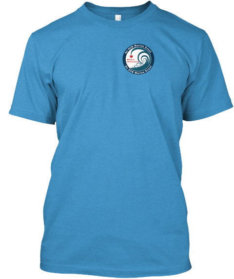 Heart The Oceans (Wave & Octopus) Heathered Bright Turquoise  T-Shirt Front