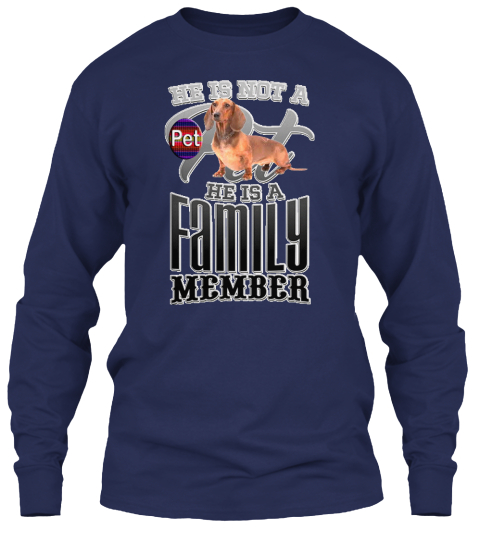Family Dog Navy Long Sleeve T-Shirt Front