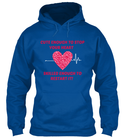 Cute Nurse Hoodie Royal T-Shirt Front